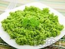 Рецепта Гарнитура за  пиле и риба - пюре от зелен грах, сметана и мента